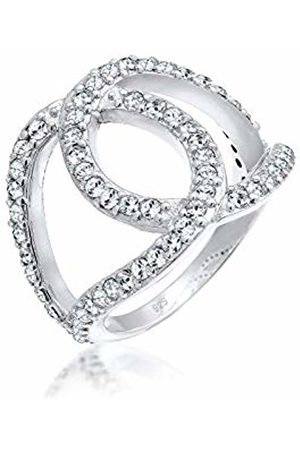 Elli Women's 925 Sterling Silver Xilion Cut Swarovski Crystals Knot Ring