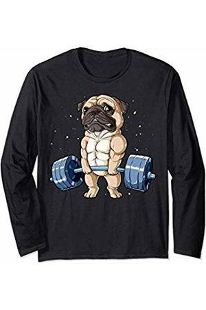 Pug DU Clothing Pug Weightlifting Funny Deadlift Men Fitness Gym Workout Tee Long Sleeve T-Shirt