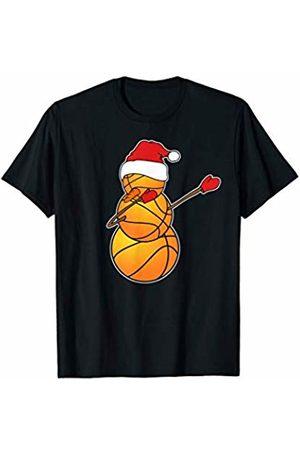 Dabbing Snowman Sports Christmas Dabbing Basketball Snowman Santa Hat Funny Christmas Sports T-Shirt