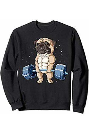 Pug DU Clothing Pug Weightlifting Funny Deadlift Men Fitness Gym Workout Tee Sweatshirt
