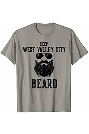 Robot Basecamp Funny Joke T-Shirts Keep West Valley City Utah BEARD Funny Hipster Retro T-Shirt