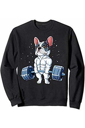 French Bulldog DU Clothing French Bulldog Weightlifting Funny Deadlift Men Fitness Gym Sweatshirt
