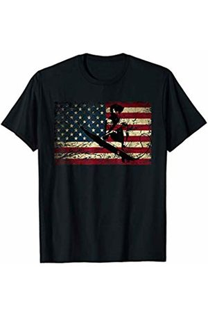 USA Flag Surfer Gifts Surfing American USA Flag Water Sports Surf Ocean Waves Gift T-Shirt