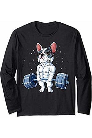 French Bulldog DU Clothing French Bulldog Weightlifting Funny Deadlift Men Fitness Gym Long Sleeve T-Shirt