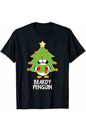 Funny Christmas Tree Penguins Mens Beardy Christmas Penguin Funny Family Matching Pajamas Top T-Shirt