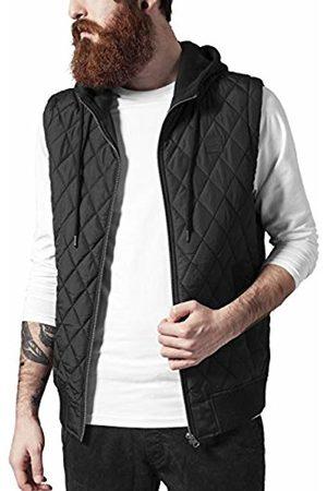 Urban classics Men's Diamond Quilted Hooded Vest Gilet, blk