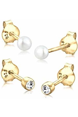 Goldhimmel 06400026 _52 Women's Stud Earrings 925 Sterling Silver and with Swarovski Crystals Elements in Brilliant & Freshwater-Cultured Pearl White - 0310522414