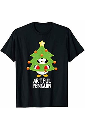 Funny Christmas Tree Penguins Artful Christmas Penguin Funny Family Matching Pajamas Top T-Shirt