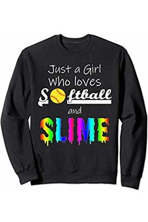 Softball Slime Family Outfits Shirts Gifts JUST A GIRL WHO LOVES SOFTBALL AND SLIME Funny Sports Gift Sweatshirt