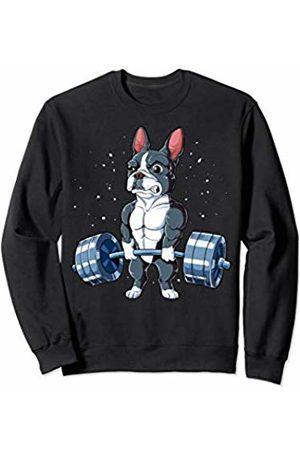 Boston Terrier DU Clothing Boston Terrier Weightlifting Funny Deadlift Men Fitness Gym Sweatshirt