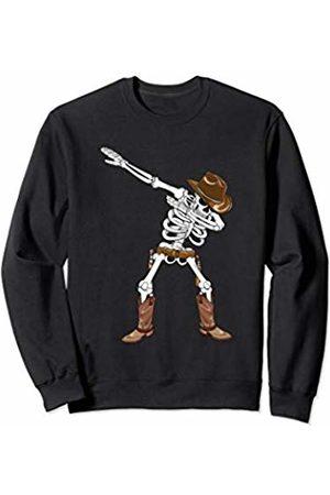 Halloween Costume Apparel by BUBL TEES Dabbing Skeleton Cowboy Hat Boots Halloween Kids Boys Gift Sweatshirt
