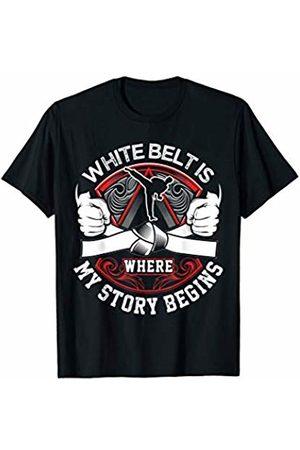 Martial Arts Talk - Fun Jiu Jitsu Gee Gifts & Gear White Belt Is Where My Story Begins For Kids