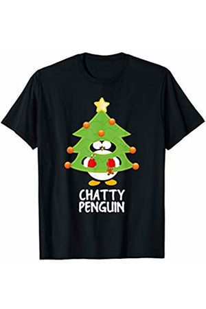 Funny Christmas Tree Penguins Chatty Christmas Penguin Funny Family Matching Pajamas Top T-Shirt
