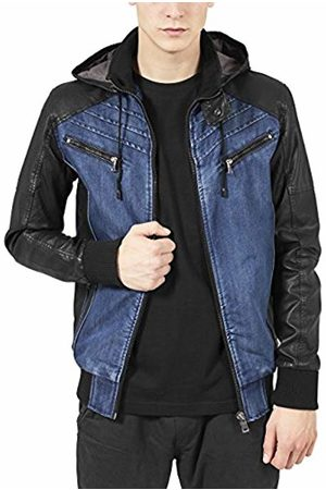 Urban classics Men's Hooded Denim Leather Jacket