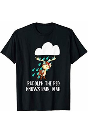 Christmas Pun Time Tees Rudolph The Red Knows Rain