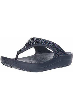 Crocs Women's Sloane Embellished Flip Flops , Navy/Turquoise