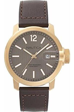 Nautica Mens Analogue Quartz Watch with Leather Strap NAPSYD005