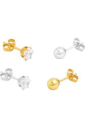 The Love Silver Collection Men Earrings - 18Ct Gold Plated Sterling Silver Set Of 4 Single Men'S Stud Earrings