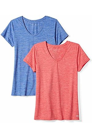 Amazon 2-Pack Tech Stretch Short-Sleeve V-Neck T-Shirt Fiery Coral Cobalt Heather