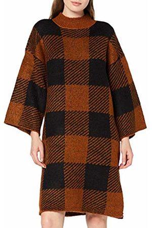Y.A.S YAS Women's Yasjoan 7/8 Knit Dress (Caramel Café Checks: )