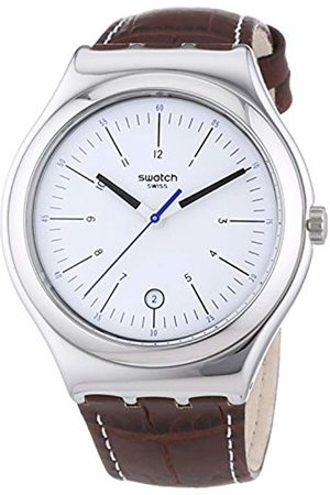 Swatch Men's Analogue Quartz Watch with Leather Strap - YWS401