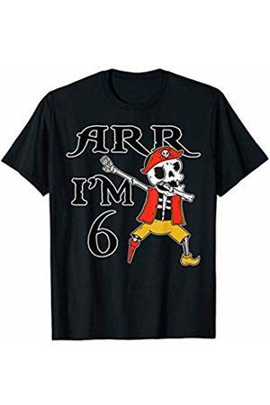 AHOY MATEYS Dabbing Halloween Pirate Skeleton Meme Women T-shirts - ARR I'M 6! Dabbing Halloween Pirate Skeleton Birthday Meme T-Shirt