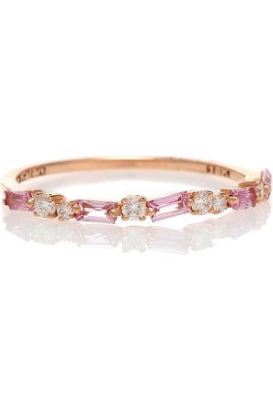 adidas 18kt rose gold ring with sapphires and diamonds