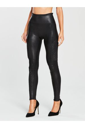 Spanx Firm Control Faux Leather Moto Leggings