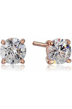 LA LUMIERE Rose Plated Sterling Silver Swarovski Zirconia (1cttw) Round Stud Earrings