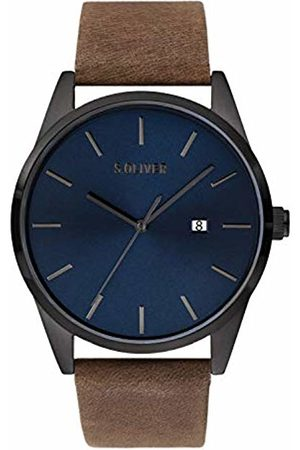 s.Oliver Mens Analogue Quartz Watch with Leather Strap SO-3850-LQ