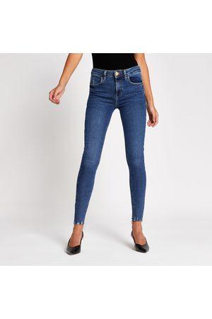 River Island Womens Dark Amelie rip super skinny jeans