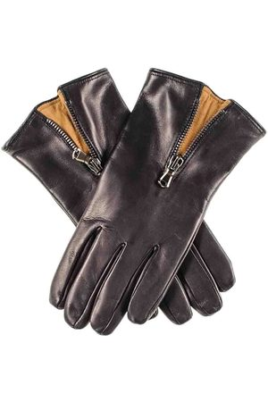 Black Gloves - And Tobacco Cashmere Lined Leather Gloves with Zip Detail
