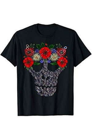 "Funny & Spooky Halloween Skull Gifts by Alice Ron Skull in Flower ""Crown"" - Floral Mechanical Halloween Skull T-Shirt"