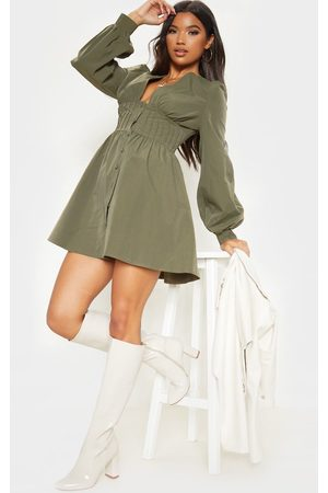 PRETTYLITTLETHING Khaki Button Front Fitted Puff Sleeve Skater Dress