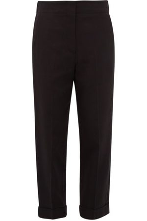 Raey Elasticated-back Turn-up Waxed Trousers - Womens