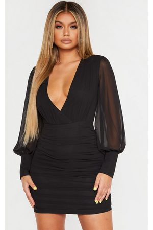 PRETTYLITTLETHING Women Bodycon Dresses - Long Sleeve Chiffon Ruched Bodycon Dress