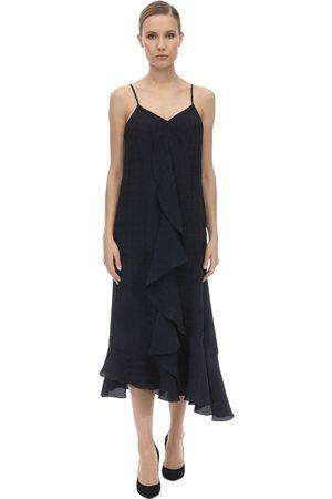 Victoria Beckham Textured Ruffled Viscose Midi Dress