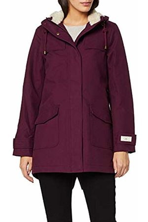 Joules Women's Coast Cosy Mid Rain Jacket, (Italian Plum)