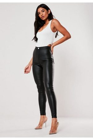 Missguided Petite High Waisted Coated Skinny Jeans