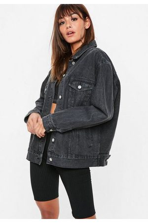 Missguided Tall Black Washed Oversized Denim Jacket