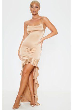 PRETTYLITTLETHING Gold Cowl Neck Frill Hem Maxi Dress