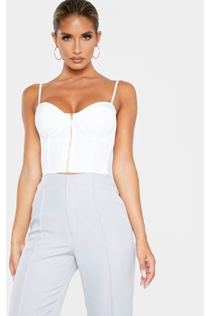 PRETTYLITTLETHING Woven Bust Detail Zip Front Corset