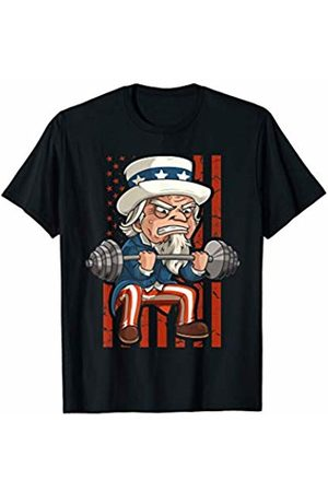 Flexin Workout Outfits Co. Weightlifting Uncle Sam Patriotic 4th of July Gym Workout T-Shirt