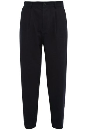 Raey Wide-leg Pleated Cotton Trousers - Mens - Navy