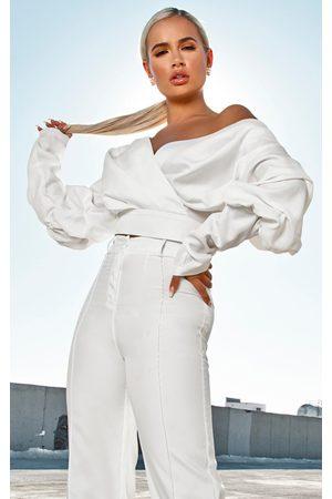 PRETTYLITTLETHING Women Tops - Woven Puff Sleeve Crop Shirt