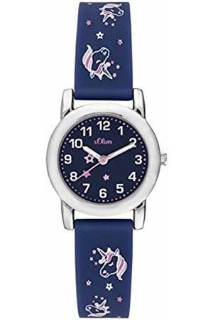 s.Oliver Girls Analogue Quartz Watch with Silicone Strap SO-3915-PQ