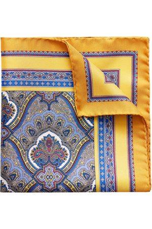 Eton Yellow Paisley Print Pocket Square