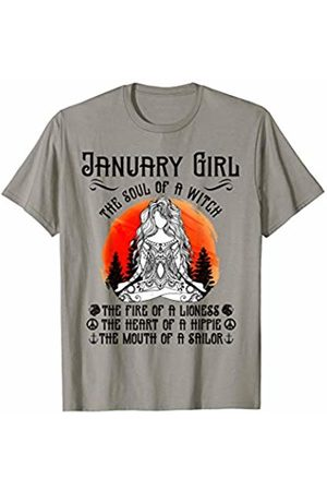 12 Months Girl The Soul Of A Witch Birthday Tee Women January Girl The Soul of A Witch Birthday Yoga Gift T-Shirt