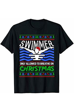Cute N Funny Christmas Gifts CHRISTMAS Funny Gift Swimming Swimmer Xmas Sports T-Shirt