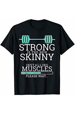 Blonde Tees Gym Workout Fitness Apparel Funny Strong Is The New Skinny Installing Muscles Gym Gift T-Shirt